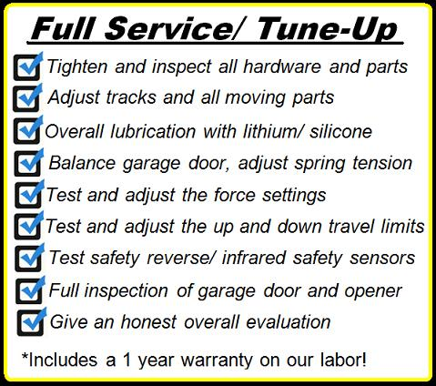Garage Door Full Service and Tune Up